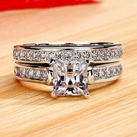 Engraved 0.8 Carat NSCD Diamond Gold Plated Silver Engagement Ring