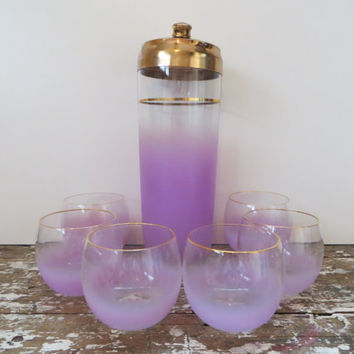 Vintage Purple Cocktail Set Frosted West Virginia Blendo Barware with Mixer and Six Glasses