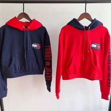 Tommy Jeans 90s Fashion Casual Pullover Capsule Top with Arm Logo Hoodie G