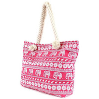 Elephant Canvas Beach Bag - 20-in (Pink)