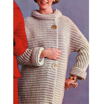 Knitting Pattern Vintage 70s Knitted Coat Pattern-Knitting Jacket Pattern-PDF Pattern-INSTANT DOWNLOAD