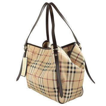 CREYIX5 Burberry Haymarket Canterbury Tote Small Chocolate