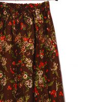 Brown Floral Skirt, Vintage Skirt With Flowers, Elastic Waist Floral Skirt, A-line Knee Length Skirt