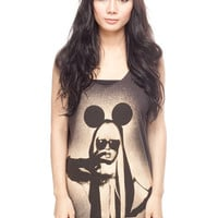 LADY GAGA T Shirt MICKEY Pop Rock Women Black T-Shirt Vest Tank Top Singlet Sleeveless Size S M