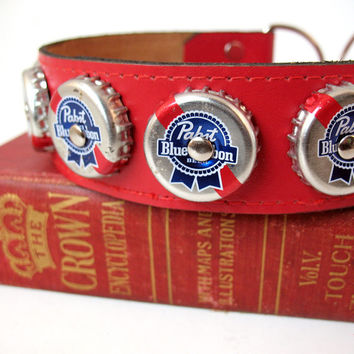 Red Leather Martingale Dog Collar w/ PBR Beer Bottle Caps, Size M/L, to fit a 17-20 Neck, OOAK