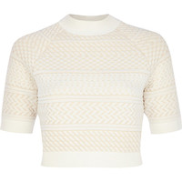 River Island Womens Cream textured knitted crop top