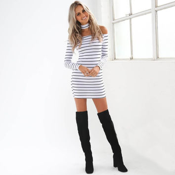 JECKSION Sexy Strapless Striped Halter Women Dress 2016 Fashion White Black Lady Dresses Long Sleeve Girls Mini Dress