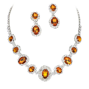 Bright Orange Regal Statement Bridal Bridesmaid Necklace Earring Set Silver Tone