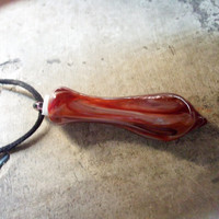 "Grand Opening Sale The ""Message In A Bottle"" Murano blown glass pendant, Red Whirl, Handcrafted in Venice, Italy"