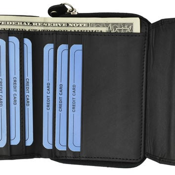 Moga High Quality Leather Trifold Card ID Holder Wallet with Zipper Compartment  92005