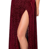 Embroidered Velvet Maxi Skirt
