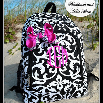 Gift Set of 2 - Matching Black Damask Personalized Backpack and Hair Bow -  Girls Kids Childrens Teens Tweens Black and White