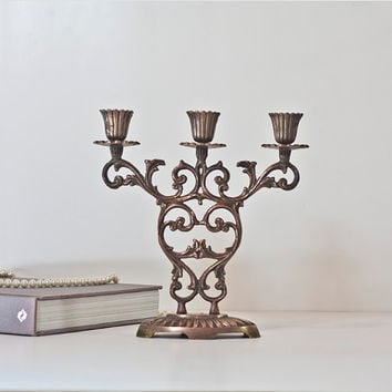 Shabbat Brass Candelabra: 1960's Judaica Vintage Brass Shabbat Candle Holder, Metal Candlestick, Traditional Home Decor, Made in Israel