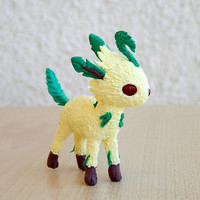 Pokemon leafeon figurine sculpture, leafeon handmade of clay leafeon collectible, Pokemon Eevee Evolution figure, anime figure, mother's day
