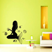 Wall Decal Vinyl Sticker Mermaid with Seashells Art Design Room Nice Picture Decor Hall Wall NA86