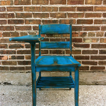 Vintage Wood School Desk In Perfect Teal by minthome on Etsy