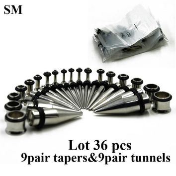 36piece 316l Stainless Steel Ear Expander Piercing Taper & Plugs Tunnel Kit Stretcher Gauges Body Jewelry 14g--00g