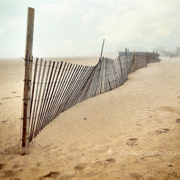 "Beach photography, beach home decor, ""The fog"" fine art photograph, Cape Cod, fog, footprints, fence, ocean, travel photography"
