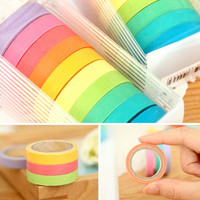 10x Rainbow Washi Sticky Paper Masking Adhesive Decorative Tape Scrapbooking DIY