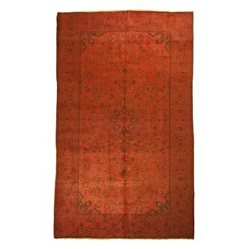 7x11 Overdyed Vintage Oriental Orange Rug 2559