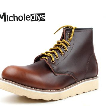 2017  Micholediys Handmade All-matcing Vintage lace up Leather Mens Platform Brown Shoes Red Breathable wing Work Shoes USA