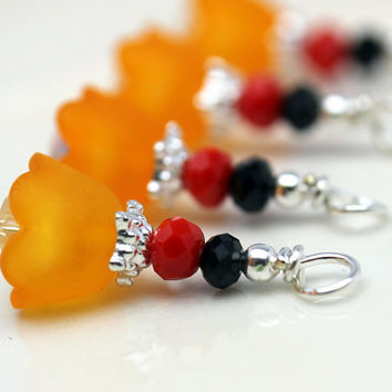 Orange Baby Bell Lucite Flower with Orange and Black Bead Dangle Charm Drop Set - 4 Piece Set