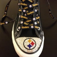 Blinged Converse Steeler shoes