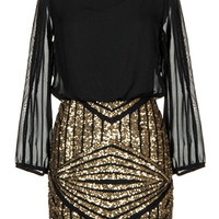 Limited Edition Dress | Long-Sleeve Gold Sequin Party Dresses | RicketyRack.com