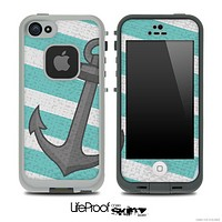 Large Striped Aqua Green Vintage Anchor Skin for the iPhone 5 or 4/4s LifeProof Case