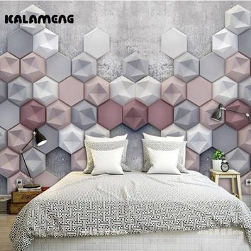 KALAMENG Custom Modern Luxury Photo Wall Mural 3D Wallpaper Papel De Parede  Living Room Tv Backdrop Wall Paper Of 3D Hexagon