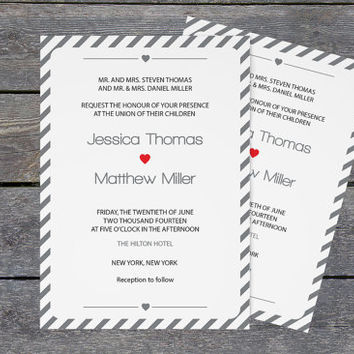 Wedding Invitation Template - Editable PDF - 5 x 7 Silver Grey Carnival Stripes Printable Wedding Invite - Instant Download - DIY You Print