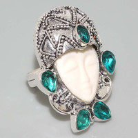 Huge Carved Face, Sea Green Quartz & 925 Silver Bali Style Moon Goddess Ring - Size 8
