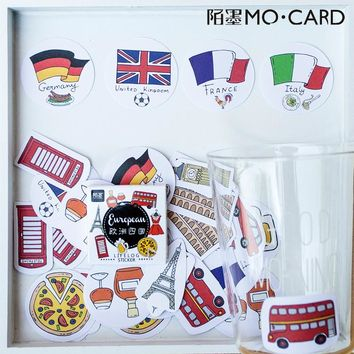 European Countries DIY Paper Lable Stickers for Planner Crafts and Scrapbooking Decorative Sticker of Travel Cute Stationery