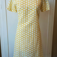 Vintage 1960s Polkadot Mod Dress in Yellow and White