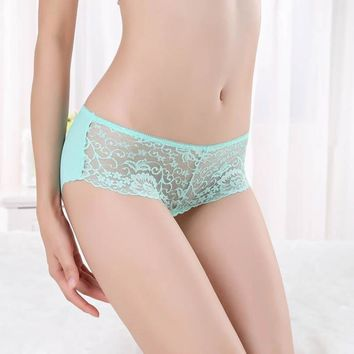 Women Invisible Underwear Briefs Thong Ice Silk Lace Seamless Crotch GN