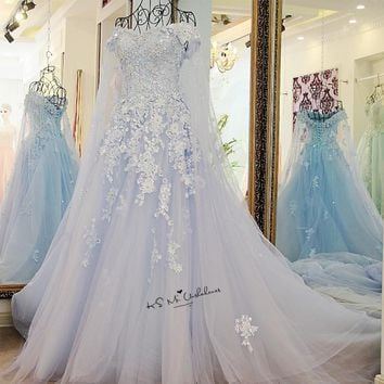 Baby Blue Boho Wedding Dresses 2018 Lace Robe de Mariage Luxury Wedding Gowns Sparky Princess Ball Gown Bride Dress Beads Boda