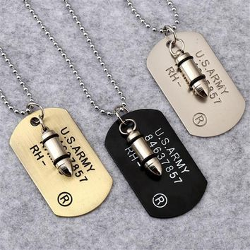 Army Bullet Dog Tag Pendant Necklace Women Men Punk Rock Hip Hop Chains Stainless Steel Cool Military Card Jewelry For Men Gifts