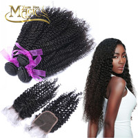 Online Shop 3 Bundles Kinky Culry With Closure Virgin Peruvian Hair 3 Bundles With Closure 100% Human Hair Natural Color 1B Free Shipping | Aliexpress Mobile