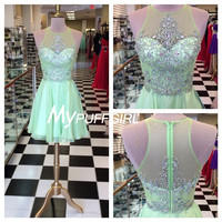 Mint Green Cocktail Party Dress , Beaded Illusion Homecoming Dress