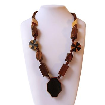 Wooden Shaped Bead Necklace