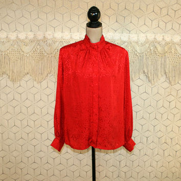 80s Red Satin Blouse Plus Size XL Dressy Top Long Sleeve Damask Jacquard High Neck Holiday Clothing Red Blouse Red Tops Womens Clothing