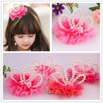 10 PCS Princess Crown Hairpins Hair Accessories Girls Flower Pearls Tiaras Headwear Baby Kids Hair Clip Accessories