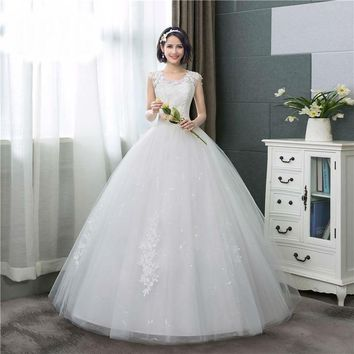 Pearls Appliques Lace Ball Gown Wedding Dress Sweet O-Neck Summer