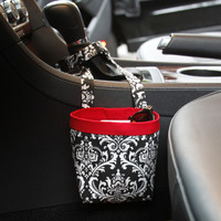 Car Cellphone Caddy ~ Black Damask ~ Red Band ~ Center Console Handle
