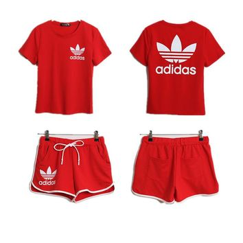 Adidas Women Casual Short Sleeve Top Sport Gym Sweatpants Set Two-Piece Sportswear-2