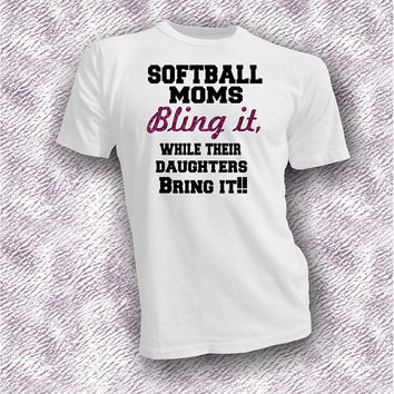 Softball moms bling it daughters bring it unisex shirt, proud softball mom shirt, bling it bring it tee, softball in style tee, gift for mom
