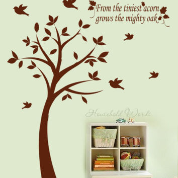 Tree vinyl wall decal with Birds and from the tiniest acorn grows the mighty oak quote for kids decor
