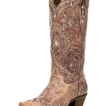Women's Cognac Glitter Inlay Boot - A2948