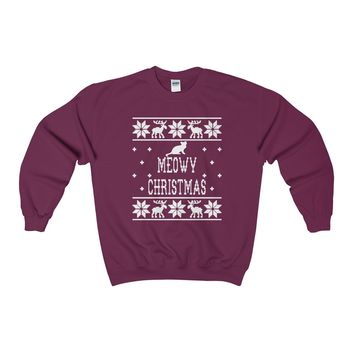 Ugly Christmas Sweater - Meowy Christmas Sweatshirt