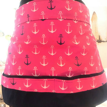 Waitress style- pinup-rockabilly- vintage-retro/ half-apron- with adjustable waist tie